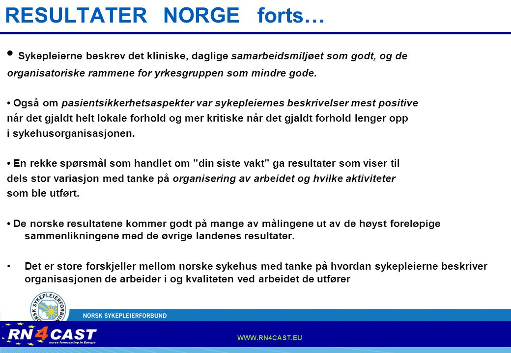 RESULTATER NORGE forts…