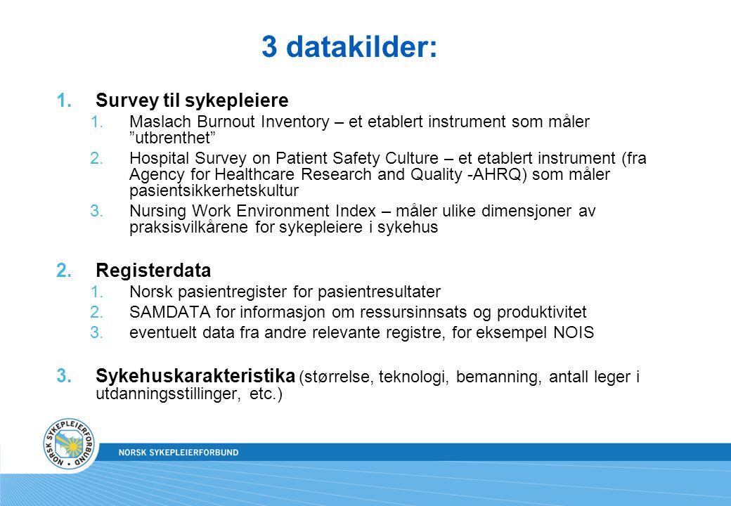 3 datakilder: Survey til sykepleiere Registerdata