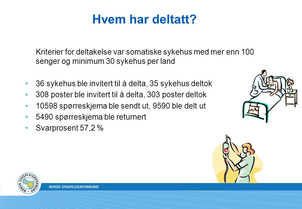 Hvem har deltatt Kriterier for deltakelse var somatiske sykehus med mer enn 100 senger og minimum 30 sykehus per land.