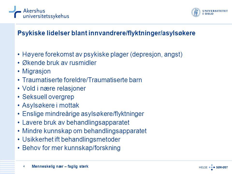 Psykiske lidelser blant innvandrere/flyktninger/asylsøkere