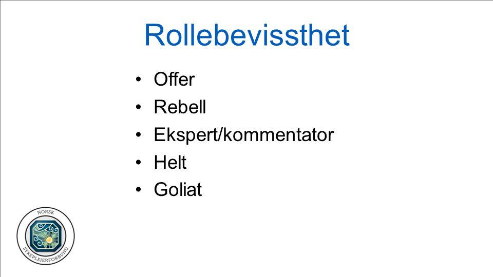 Rollebevissthet Offer Rebell Ekspert/kommentator Helt Goliat