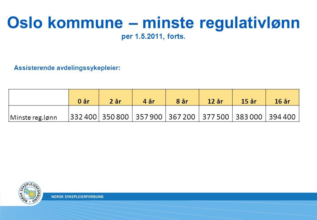 Oslo kommune – minste regulativlønn per 1.5.2011, forts.