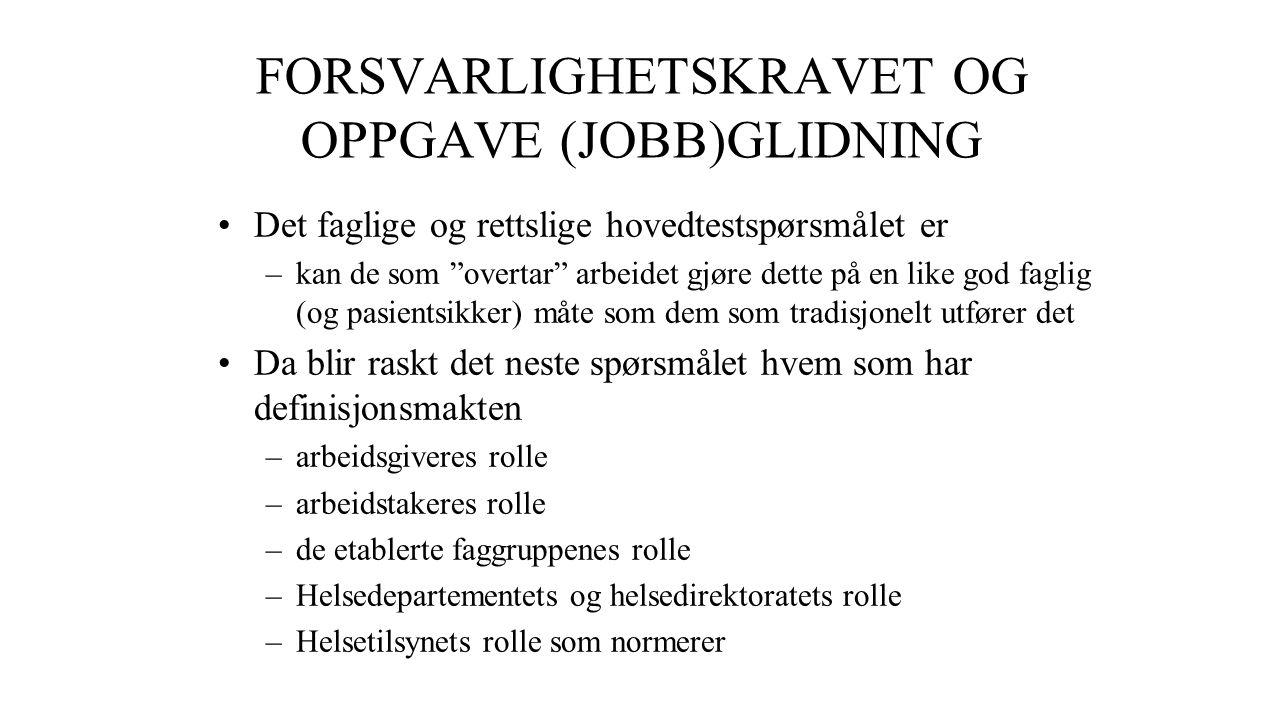 FORSVARLIGHETSKRAVET OG OPPGAVE (JOBB)GLIDNING