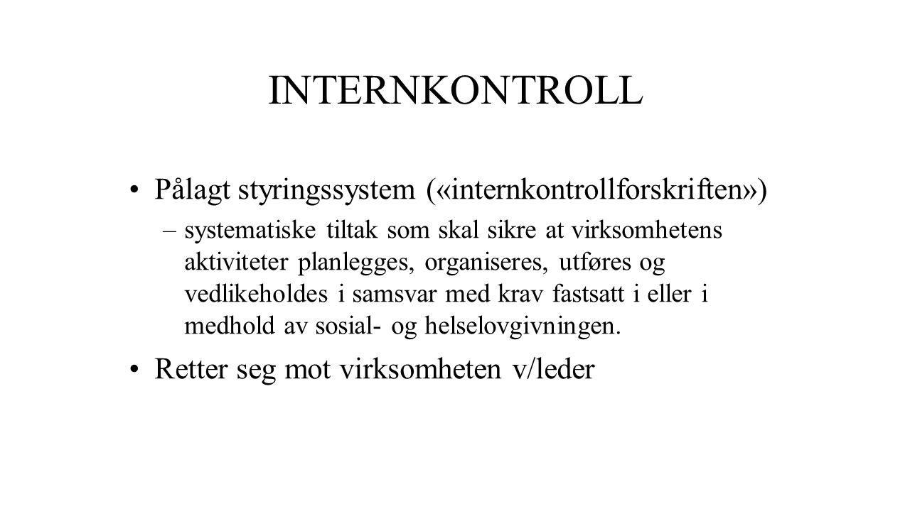 INTERNKONTROLL Pålagt styringssystem («internkontrollforskriften»)