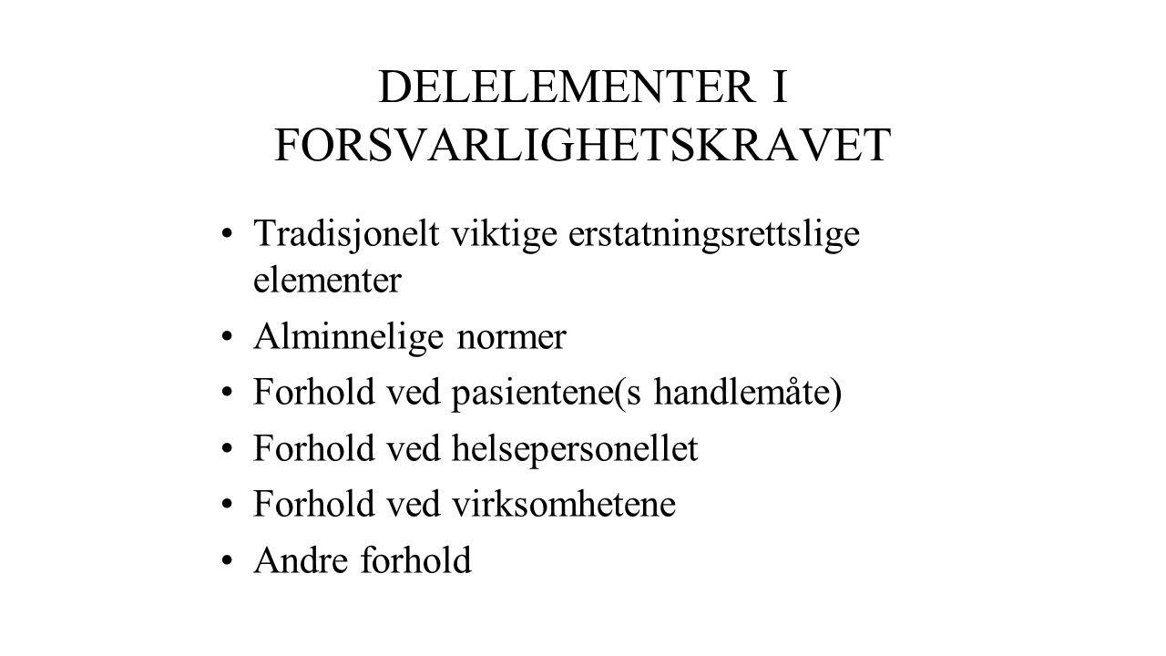 DELELEMENTER I FORSVARLIGHETSKRAVET