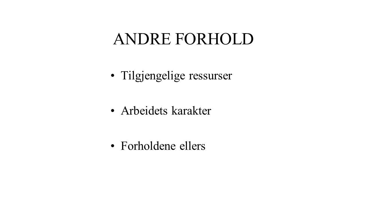 ANDRE FORHOLD Tilgjengelige ressurser Arbeidets karakter