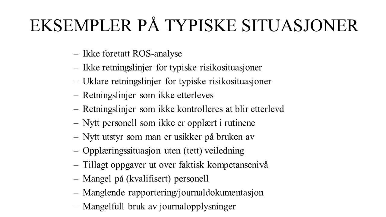 EKSEMPLER PÅ TYPISKE SITUASJONER