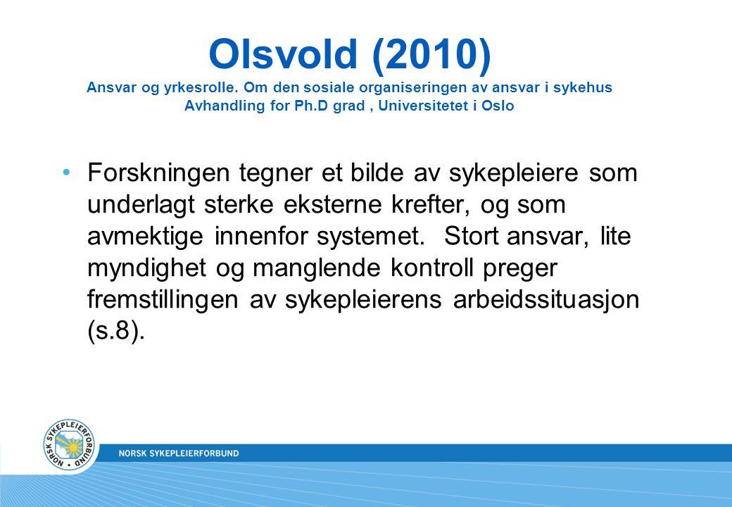 Olsvold (2010) Ansvar og yrkesrolle