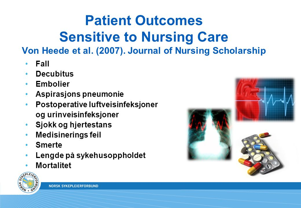 Patient Outcomes Sensitive to Nursing Care Von Heede et al. (2007)