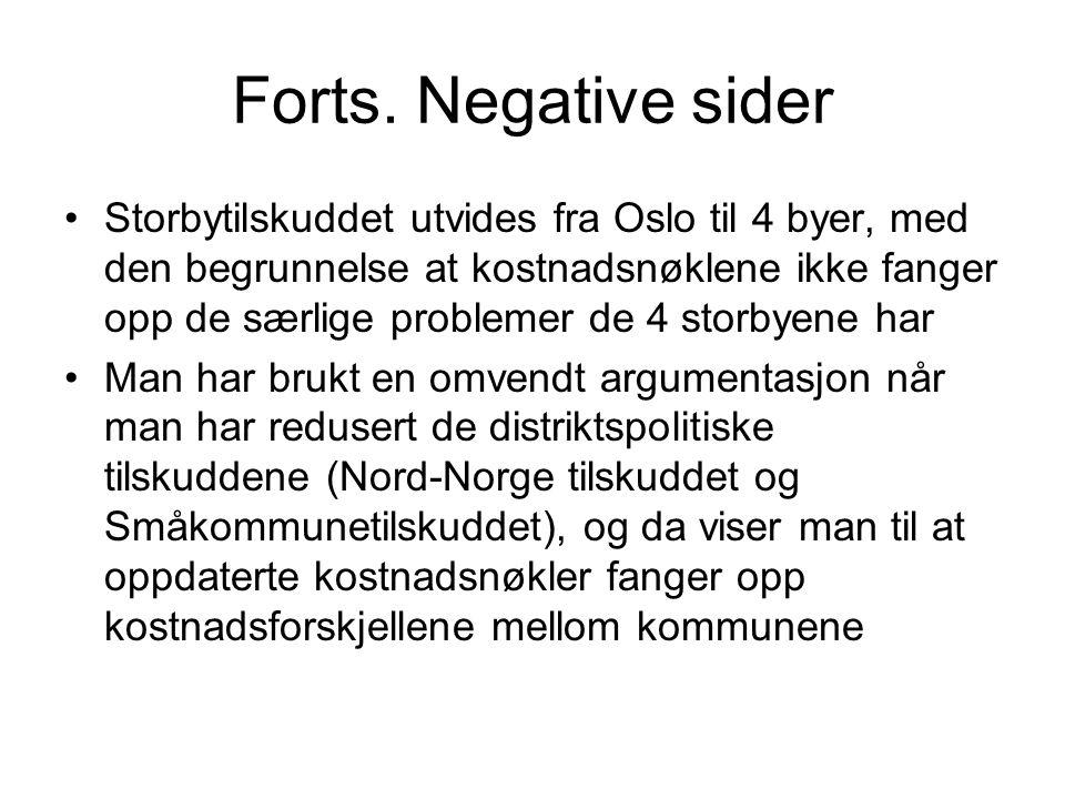 Forts. Negative sider