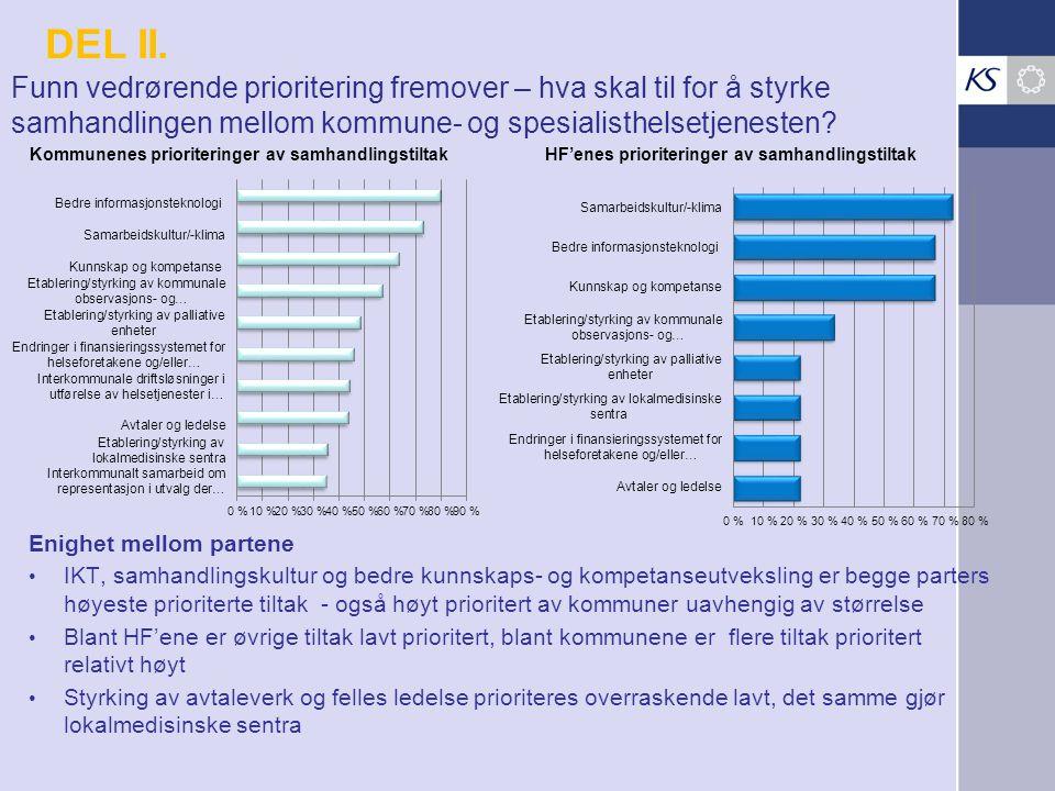 DEL II. Funn vedrørende prioritering fremover – hva skal til for å styrke samhandlingen mellom kommune- og spesialisthelsetjenesten