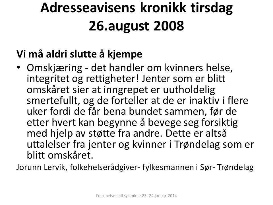 Adresseavisens kronikk tirsdag 26.august 2008