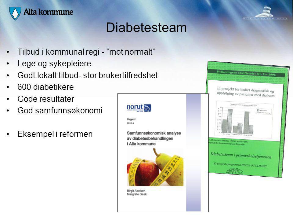 Diabetesteam Tilbud i kommunal regi - mot normalt