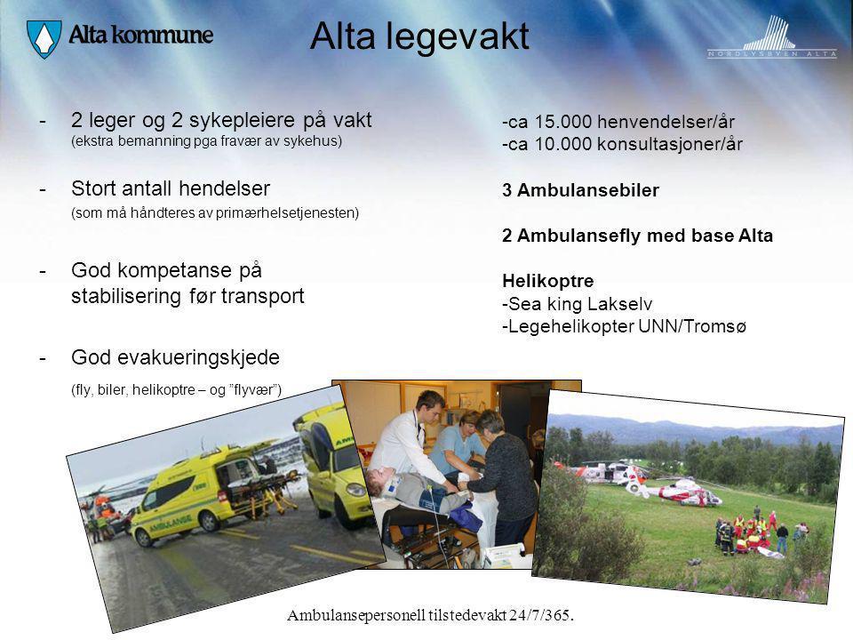 Alta legevakt 2 leger og 2 sykepleiere på vakt (ekstra bemanning pga fravær av sykehus) Stort antall hendelser.