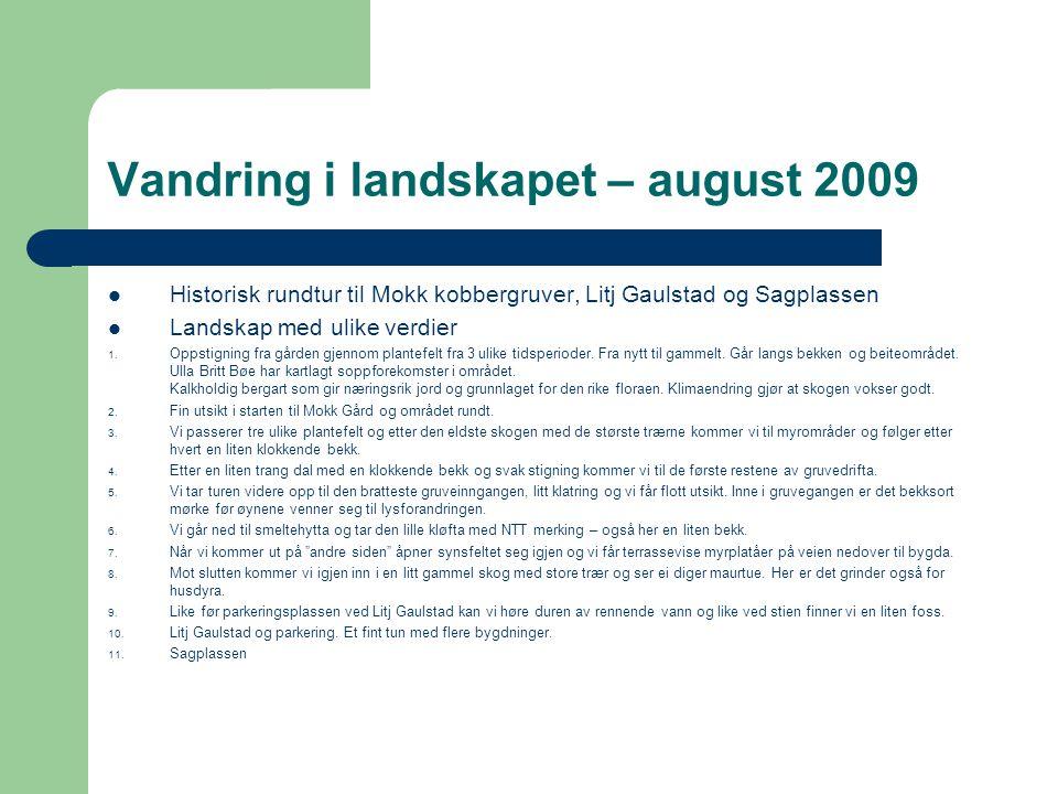 Vandring i landskapet – august 2009