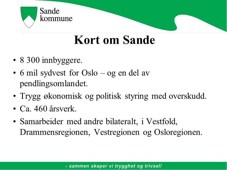 Kort om Sande 8 300 innbyggere.