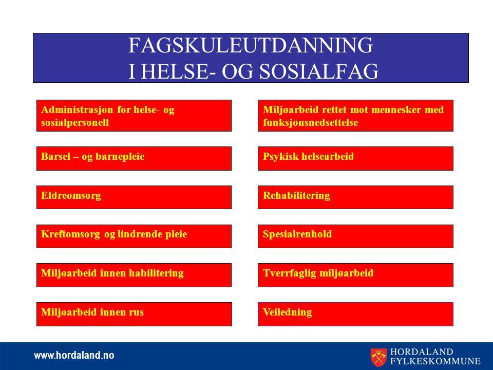 FAGSKULEUTDANNING I HELSE- OG SOSIALFAG
