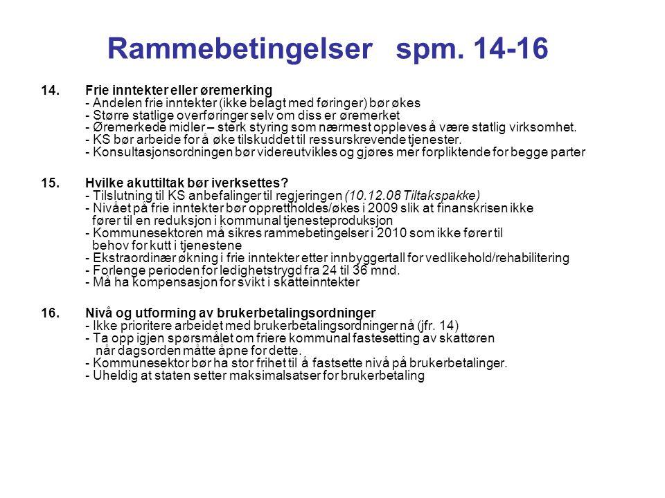 Rammebetingelser spm. 14-16