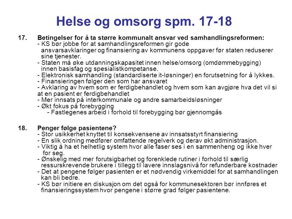 Helse og omsorg spm. 17-18