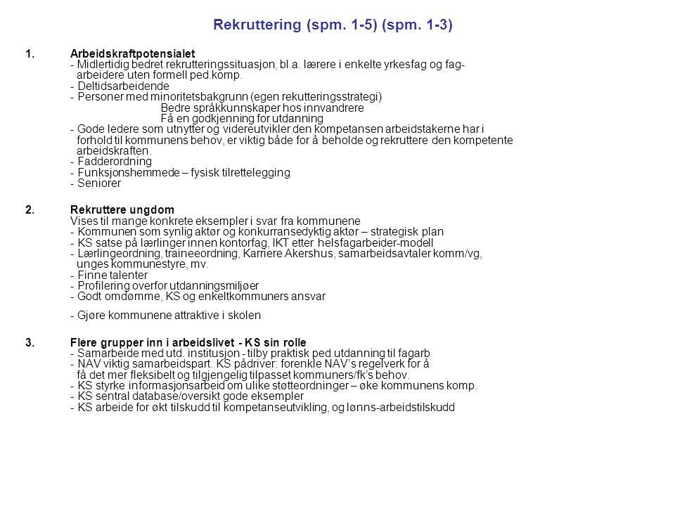 Rekruttering (spm. 1-5) (spm. 1-3)