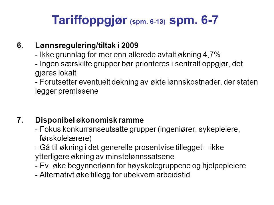 Tariffoppgjør (spm. 6-13) spm. 6-7