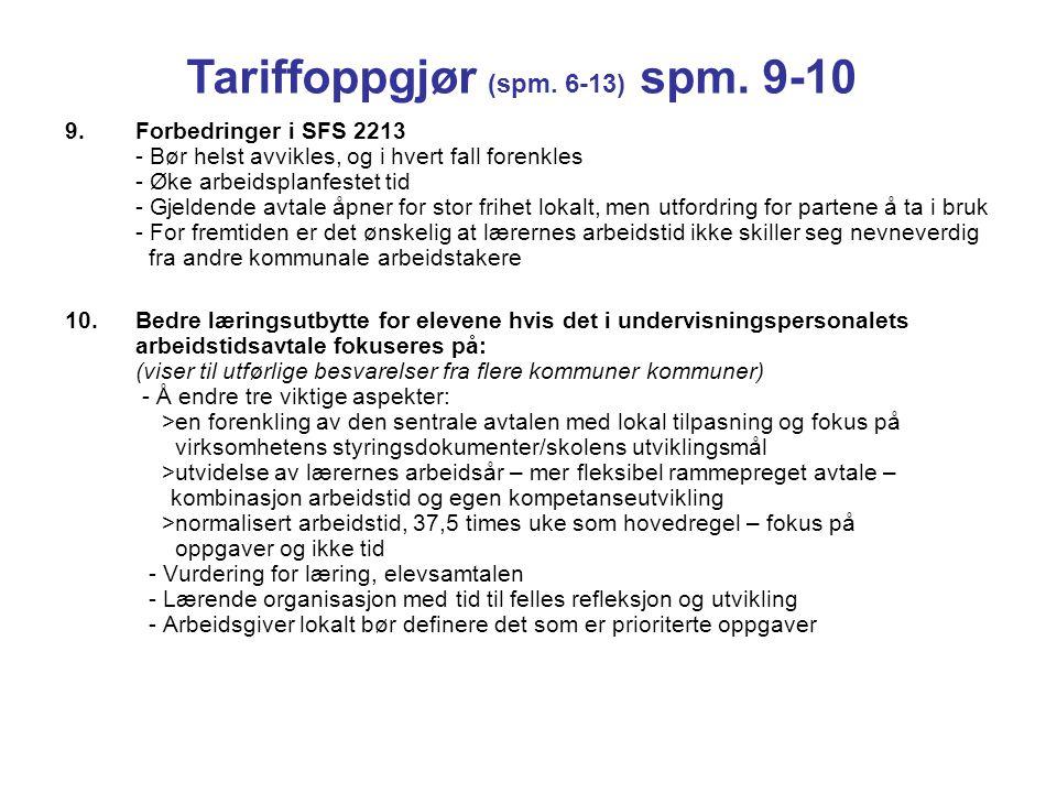 Tariffoppgjør (spm. 6-13) spm. 9-10
