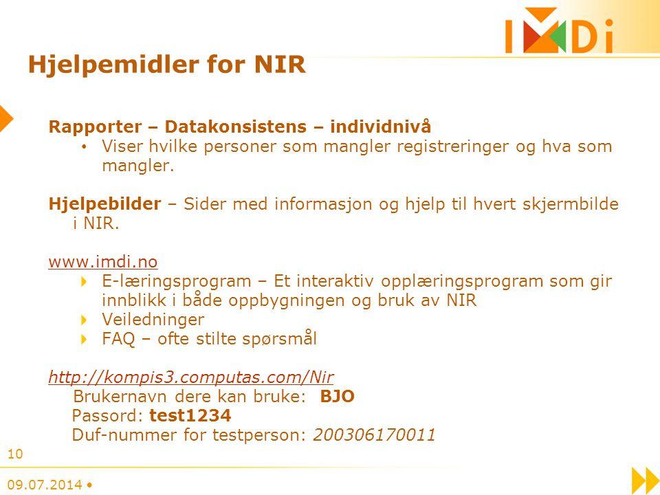 Hjelpemidler for NIR Rapporter – Datakonsistens – individnivå