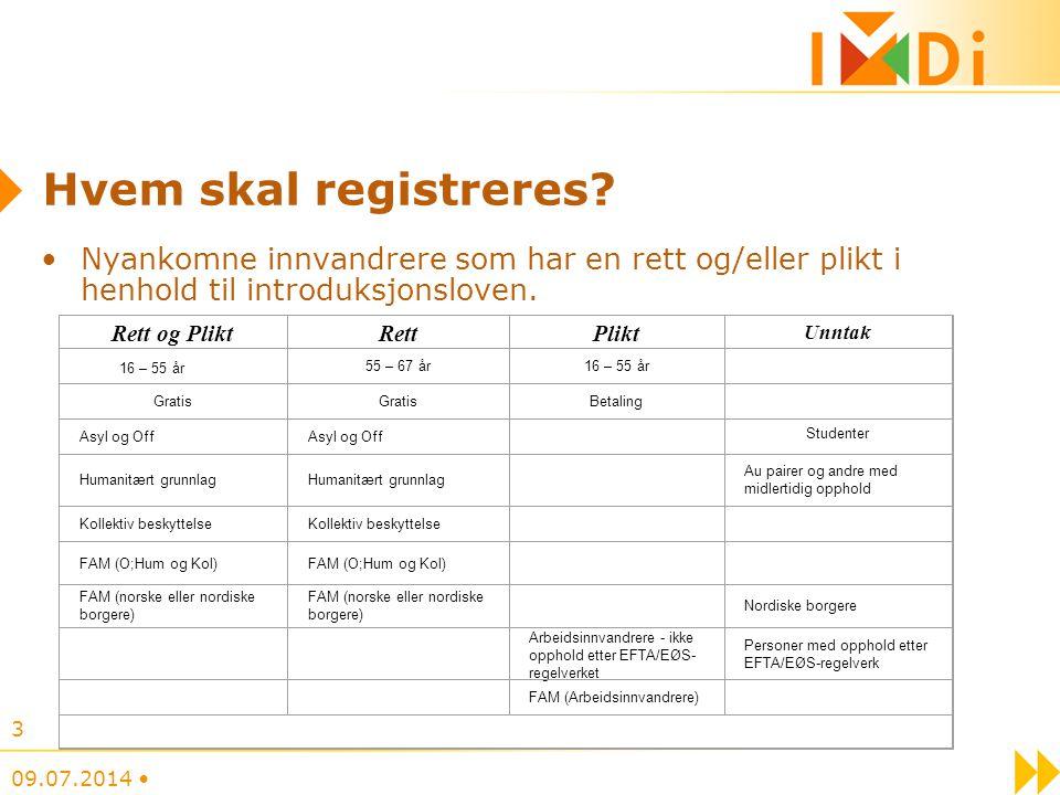Hvem skal registreres Nyankomne innvandrere som har en rett og/eller plikt i henhold til introduksjonsloven.