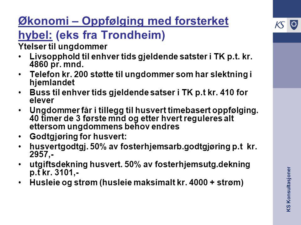 Økonomi – Oppfølging med forsterket hybel: (eks fra Trondheim)