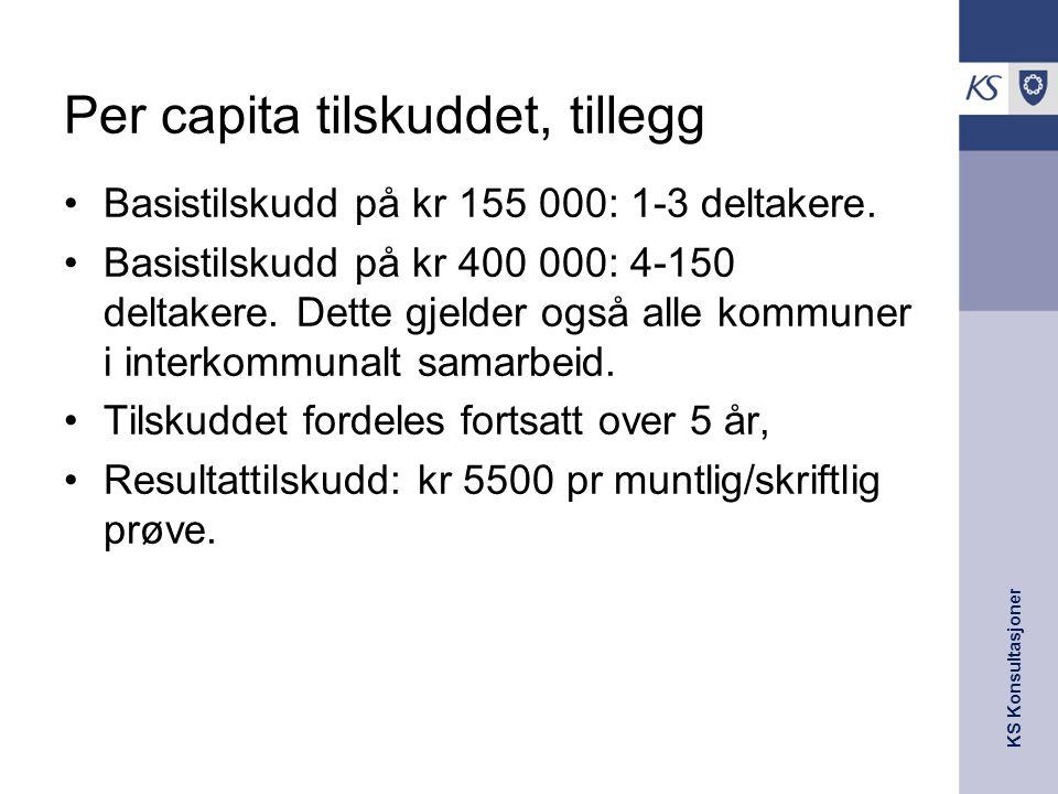 Per capita tilskuddet, tillegg