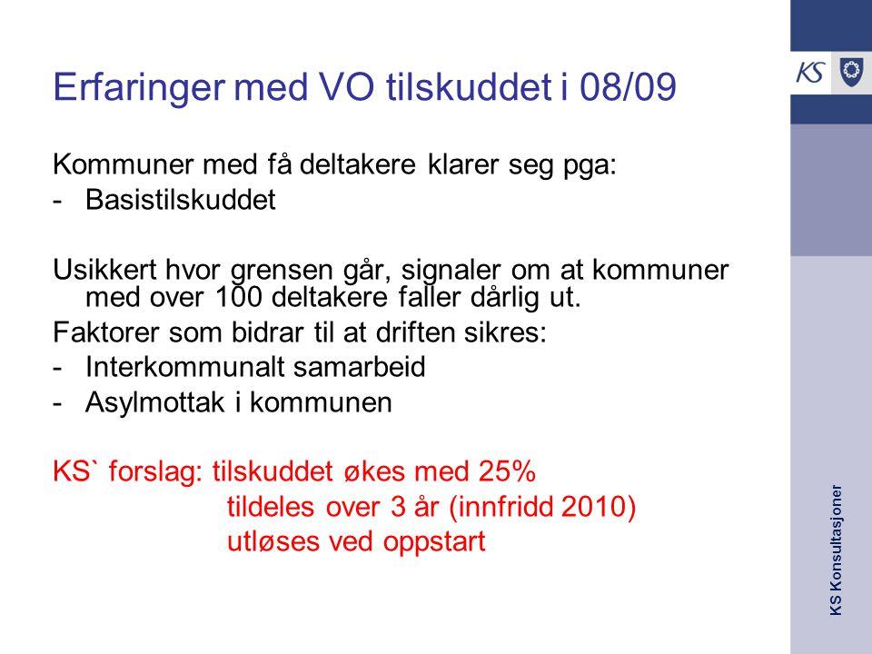 Erfaringer med VO tilskuddet i 08/09
