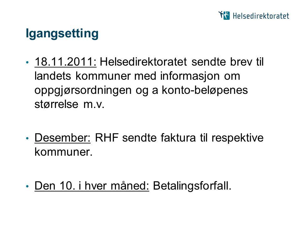 Igangsetting 18.11.2011: Helsedirektoratet sendte brev til landets kommuner med informasjon om oppgjørsordningen og a konto-beløpenes størrelse m.v.