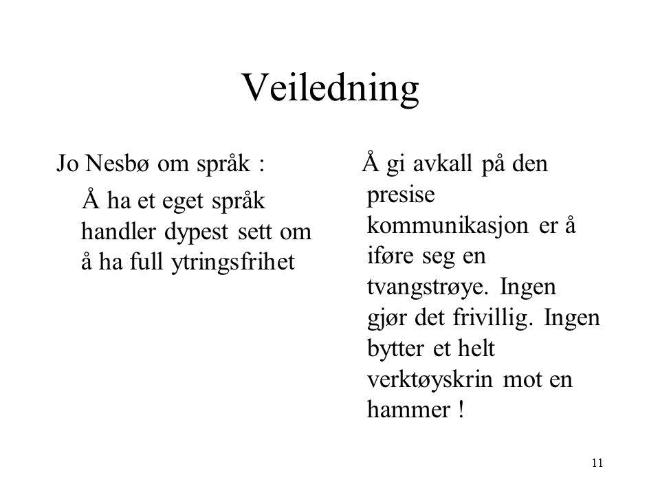 Veiledning Jo Nesbø om språk :