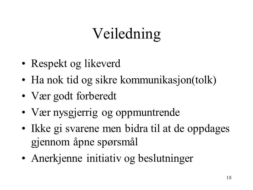 Veiledning Respekt og likeverd Ha nok tid og sikre kommunikasjon(tolk)