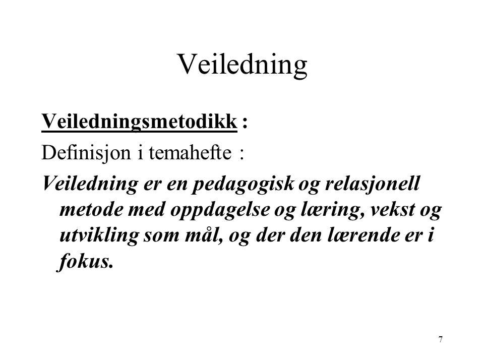 Veiledning Veiledningsmetodikk : Definisjon i temahefte :