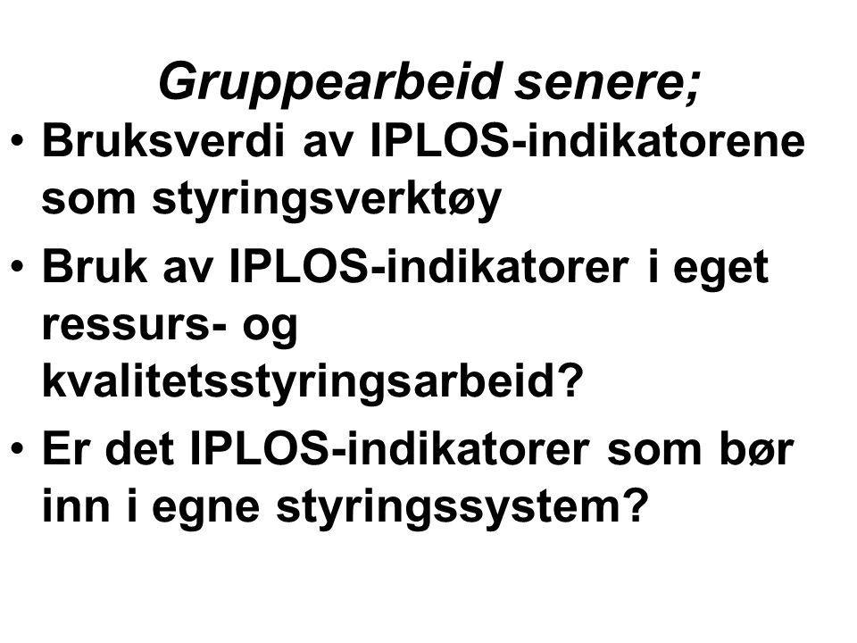 Gruppearbeid senere; Bruksverdi av IPLOS-indikatorene som styringsverktøy. Bruk av IPLOS-indikatorer i eget ressurs- og kvalitetsstyringsarbeid