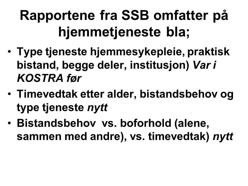 Rapportene fra SSB omfatter på hjemmetjeneste bla;