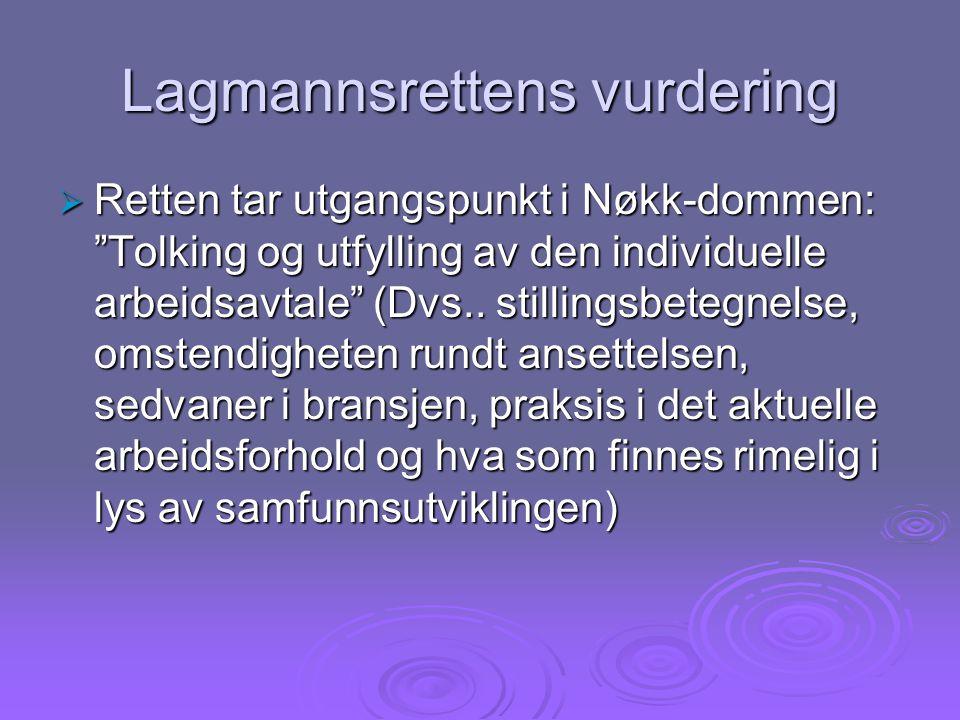 Lagmannsrettens vurdering