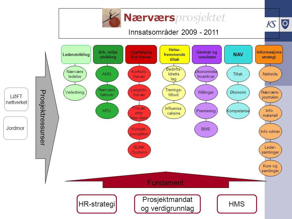 Innsatsområder 2009 - 2011 Prosjektressurser Fundament HR-strategi