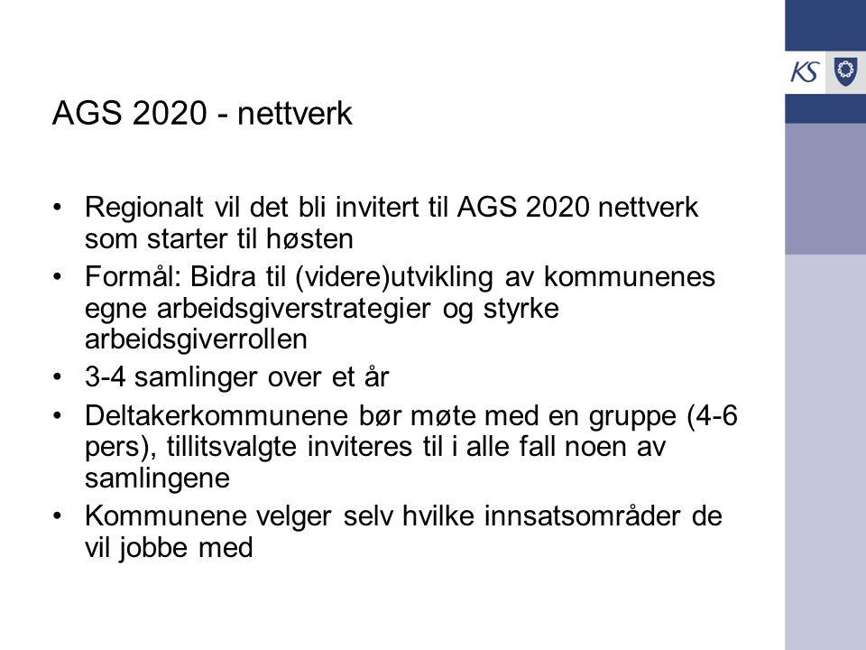 AGS 2020 - nettverk Regionalt vil det bli invitert til AGS 2020 nettverk som starter til høsten.