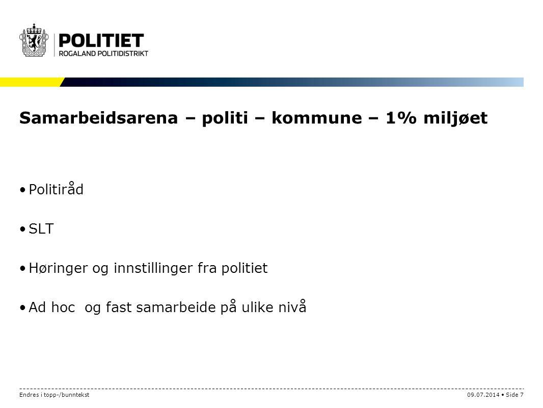 Samarbeidsarena – politi – kommune – 1% miljøet