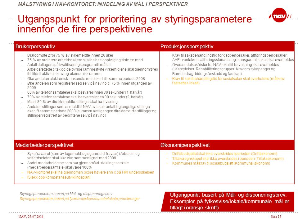 MÅLSTYRING I NAV-KONTORET: INNDELING AV MÅL I PERSPEKTIVER