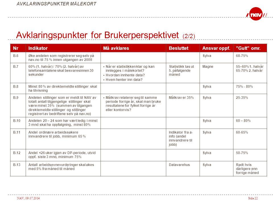 Avklaringspunkter for Brukerperspektivet (2/2)