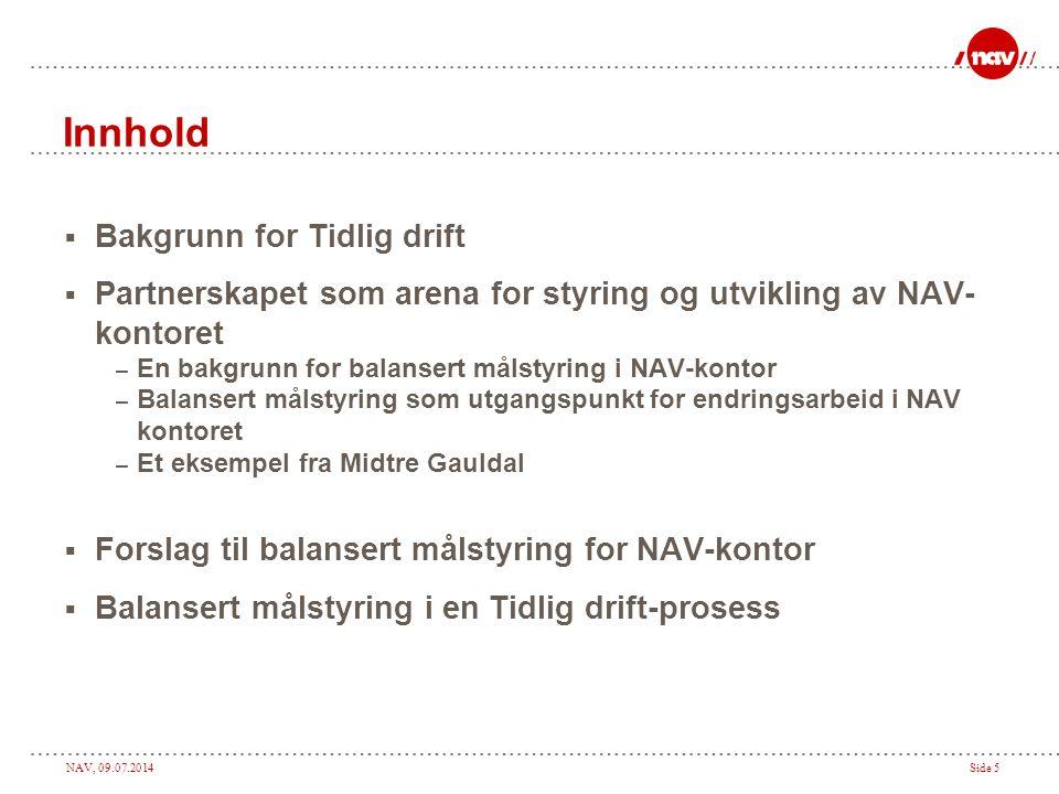Innhold Bakgrunn for Tidlig drift