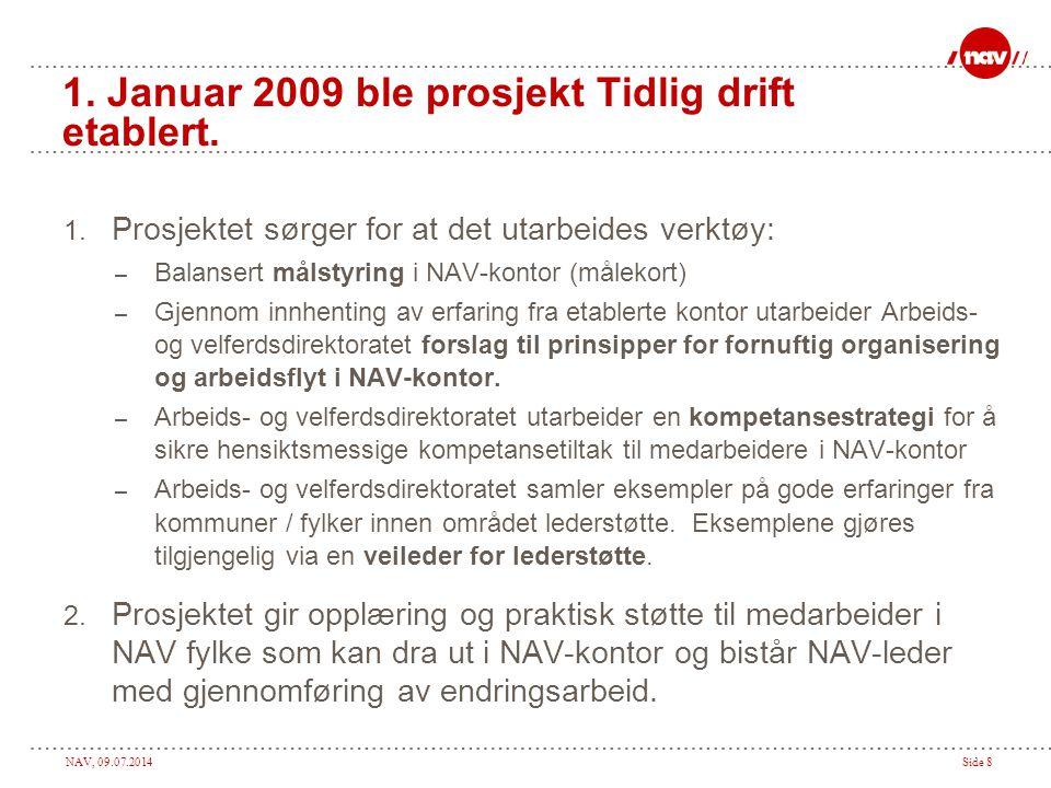 1. Januar 2009 ble prosjekt Tidlig drift etablert.