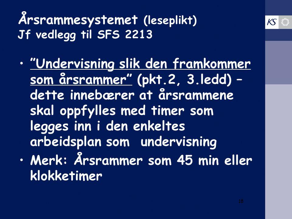 Årsrammesystemet (leseplikt) Jf vedlegg til SFS 2213