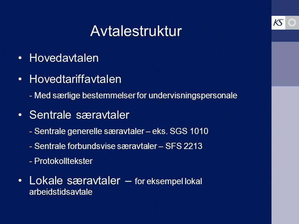 Avtalestruktur Hovedavtalen Hovedtariffavtalen Sentrale særavtaler