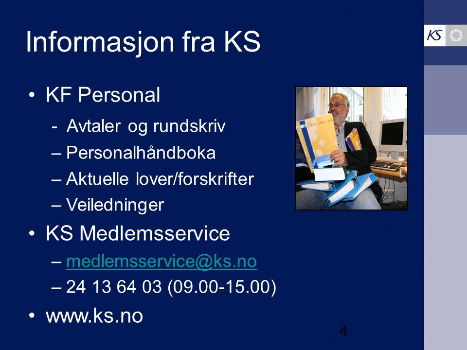 Informasjon fra KS KF Personal - Avtaler og rundskriv