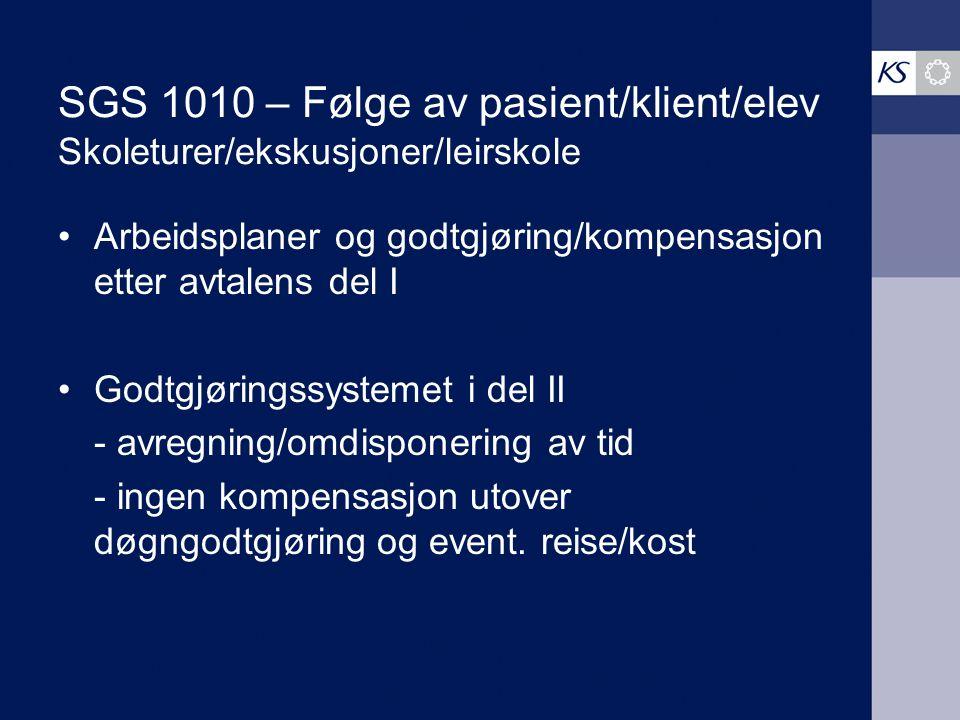 SGS 1010 – Følge av pasient/klient/elev Skoleturer/ekskusjoner/leirskole