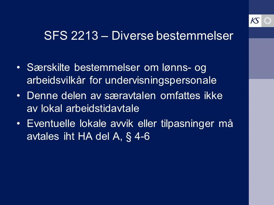 SFS 2213 – Diverse bestemmelser